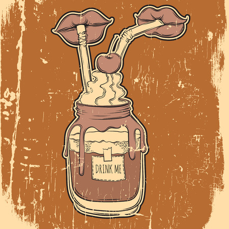 Creative vector hand drawn food illustration. Artwork with bank of hot drink and pair of lips with straws. Template for postcard, banner, label, poster, print for t-shirt.