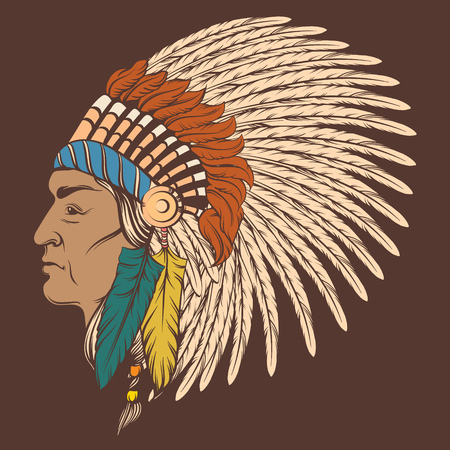 Vector hand drawn  illustration of indian profile in roach. Colorful realistic  artwork in native american style. Template for card poster banner print for t-shirt Illustration