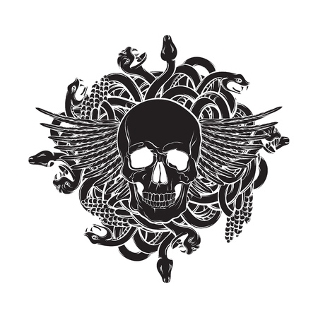 Vector illustration of realistic human skull with wings and bunch of snakes in hand drawn style. Artwork in dark fashion rocker and biker style. Template for card banner label poster and print for t-shirt. Illustration