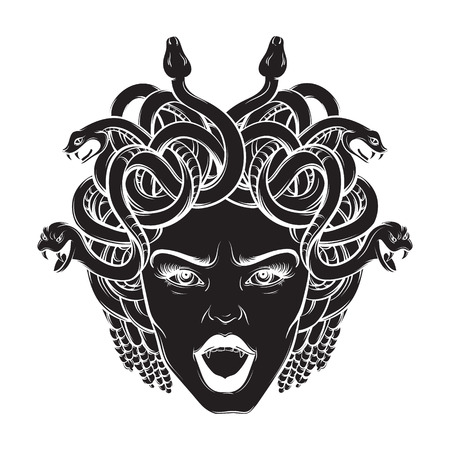 Vector hand drawn illustration of gorgon in hand sketched realistic style. Artwork with portrait of gorgon. Template for card, posster, banner, print for t-shirt. Çizim