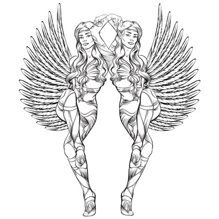 Vector illustratie van mooie elf tweelingen met vleugels gemaakt in de hand getrokken lijn realistische stijl. Etnische kunst. Stock Illustratie