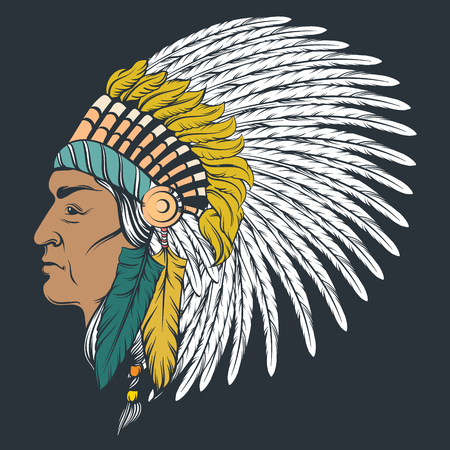 Hand drawn illustration of Indian profile in roach. Colorful realistic artwork in native american style. Template for card poster banner print for t-shirt.