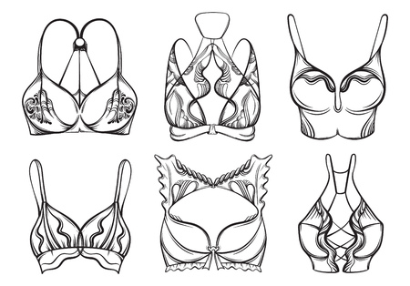 Illustration of beautiful collection of bra made in hand drawn sketch style. Artwork in hand sketched cartoon style. Template for card poster banner print. Vetores