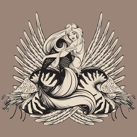 Vector illustration of beautiful mermaid with nautilus and wings in realistic hand drawn sketch line stile. Template for postcard poster banner sticker badge and print for t-shirt Vettoriali