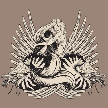 Vectorillustratie van prachtige zeemeermin met nautilus en vleugels in realistische hand getrokken schets lijnstijl. Sjabloon voor briefkaart poster banner sticker badge en print voor t-shirt Stock Illustratie