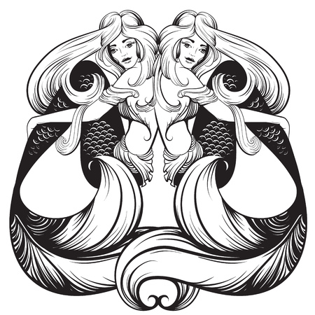 Vector illustration of beautiful mermaid with nautilus  in realistic hand drawn sketch line stile. Template for postcard poster banner sticker badge and print for t-shirt