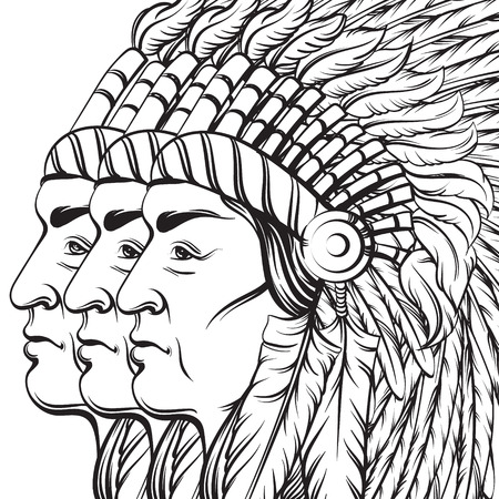 Vector hand drawn illustration of an indian profile in roach. Realistic artwork in native american style. Template for card poster print for t-shirt.