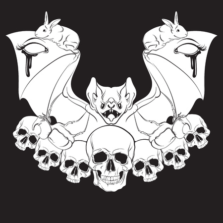 Vector illustration in hand drawn realistic style with skull and bat. Template for poster banner card print for t-shirt. Dark fashion artwork Illustration