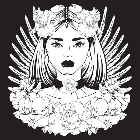Vector illustration in hand drawn line style. Portrait of young beautiful girl with flowers and choker. Template for card poster banner and print for t-shirt.