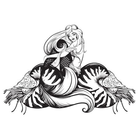 Vector el ejemplo de la sirena hermosa con el nautilus en la línea realista dibujada mano estilo del bosquejo. Plantilla para la insignia de la etiqueta de la bandera del cartel de la postal y la impresión para la camiseta