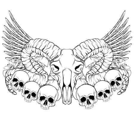Vector hand drawn illustration. Artwork with skull of ram, flowers, wings.  Alchemy, religion, spirituality, occultism, tattoo art. Template for postcard, banner, poster, print for t-shirt.