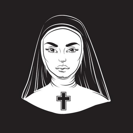 illustration vectorielle de nonne avec croix faite dans la main dessinée ligne de conception de l & # 39 ; horreur . modèle de conception pour l & # 39 ; affiche de la carte de l & # 39 ; affiche pour t-shirt