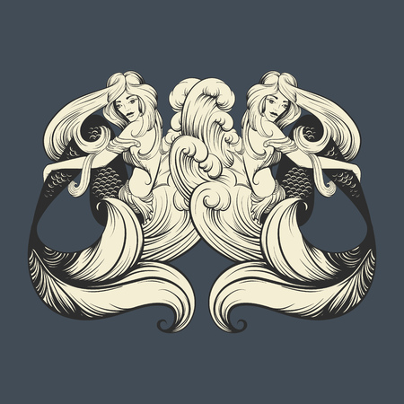 Vector illustration of beautiful mermaid with long hair and sea waves mad in realistic hand drawn sketch line stile. Template for postcard poster banner sticker badge and print for t-shirt