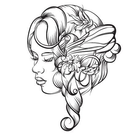 Vector hand drawn illustration of young lady with flowers and wings. Artwork in line style. Template for card banner poster print for t-shirt