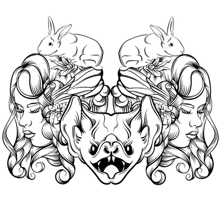 Vector hand drawn illustration of young lady with rabbits and bat. Artwork in line horror style. Template for card banner poster print for t-shirt