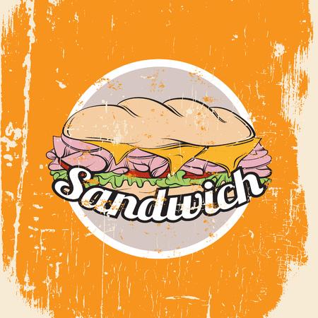Illustration of sandwich Vettoriali