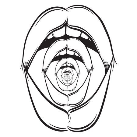 Vector illustration of weird open screaming mouth made in hand drawn realistic line style. Surrealism psychodelic artwork. Template for postcard badge banner and poster Stock Vector - 93641941
