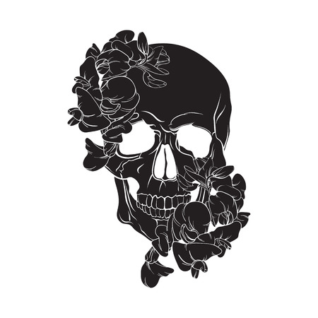 Vector illustration of human skull with flowers made in hand drawn line style. Template for postcard banner poster and print for t-shirt