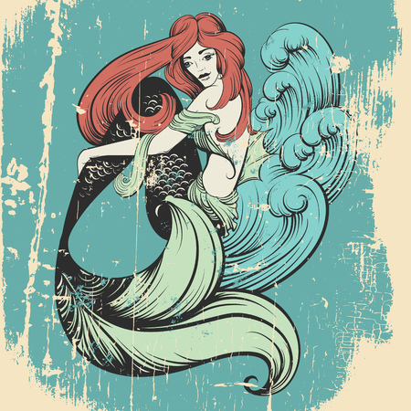 Vector illustration of beautiful mermaid with long hair and sea waves mad in realistic hand drawn sketch line stile. Template for postcard poster banner and print for t-shirt