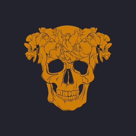Vector illustration of realistic  human skull with flowers made in hand drawn line style. Template for postcard banner poster and print for t-shirt Illustration