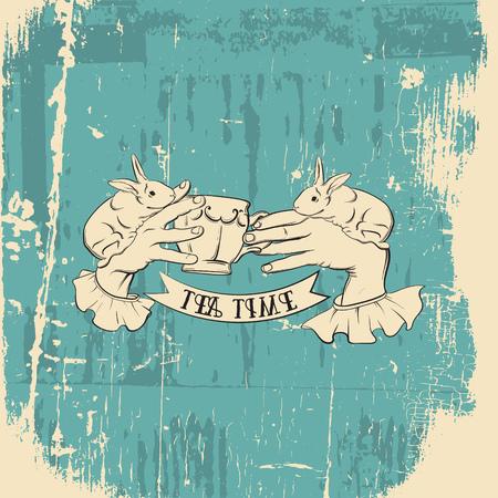 L'illustrazione creativa di vettore delle mani della donna con la tazza di tè e i coniglietti hanno fatto lo stile realistico disegnato a mano. Modello per la stampa di poster di striscioni da cartolina per t-shirt