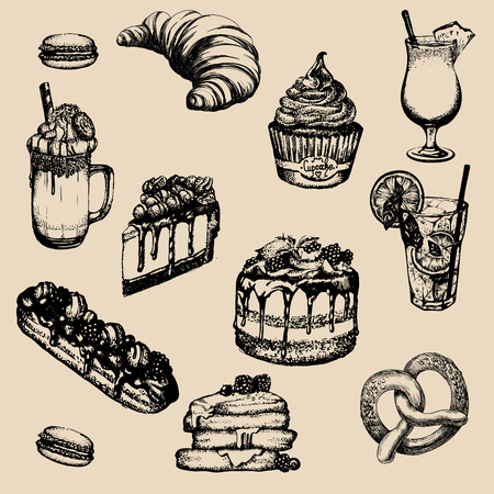 Vector illustration of frappucÑ�ino with whipped cream and cookie made in hand drawn sketch style. Cupcake, cheesecake, eclair, macaroon. Template for business card banner and  poster. Ilustração