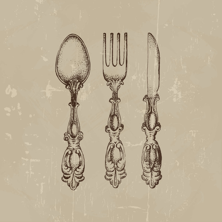 Vector illustration of vintage spoon fork and knife made in hand drawn sketch style. Template for business card poster banner and flyer.