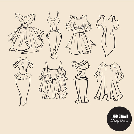 Vector collection of hand drawn woman daily dresses made in sketch careless style. Template for business card poster banner flyer and print for t-shirt Vektoros illusztráció
