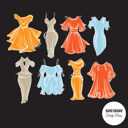 Vector collection of hand drawn woman daily dresses made in sketch careless style. Template for business card poster banner flyer and print for t-shirt