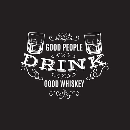 Vector quote typographical background about whiskey. Hand drawn sketch style illustration of glass with ice cube. Template for business card poster and banner. Illustration