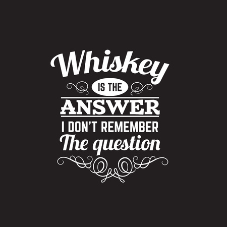 Vector quote typographical background about whiskey. Template for business card poster and banner.