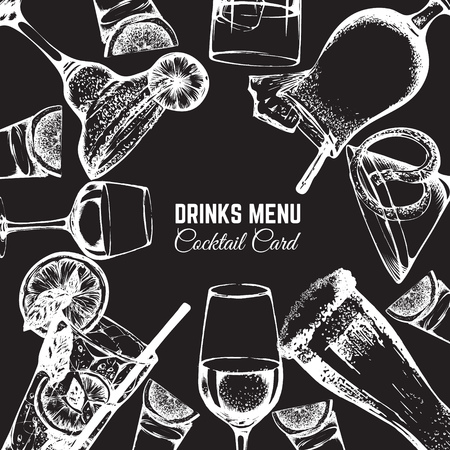 Vector illustration in hand drawn sketch style. Beer, wine and alcoholic cocktails. Bar and pub menu design. Template for card poster banner and t-shirt
