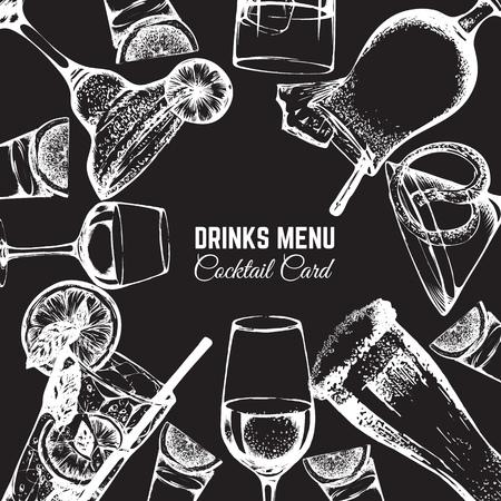 Ilustração vetorial no estilo de desenho de mão desenhada. Cerveja, vinho e coquetéis alcoólicos. Bar e pub menu design. Modelo para banner de cartaz de cartão e t-shirt