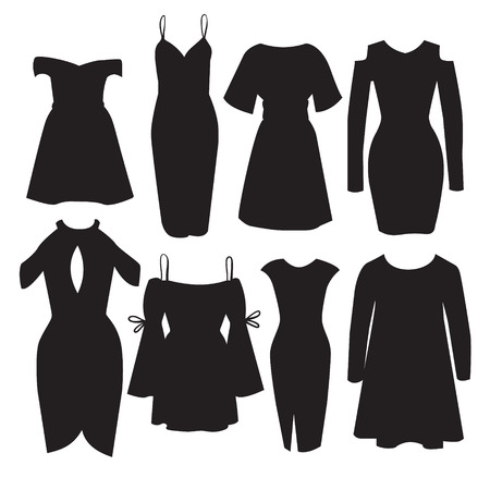 Vector set of modern dresses for women. Illustration in realistic style. Template for business card poster banner flyer and logotype.