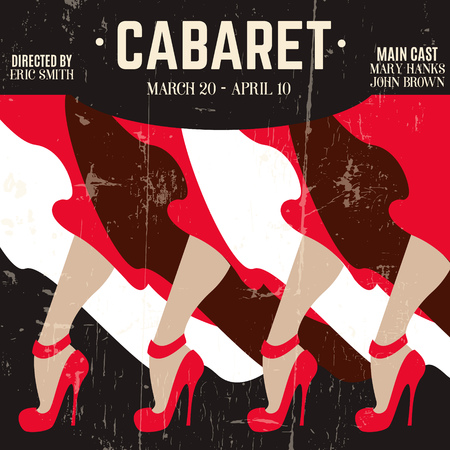 Typographical background with illustration of legs in red shoes with high heels. Template for cabaret poster card banner. Vintage texture.