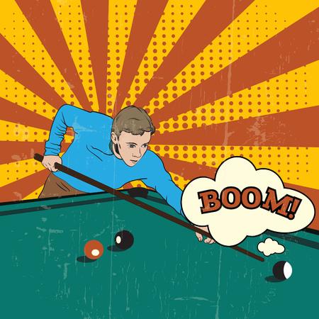 Man snooker spelen. Vector illustratie gemaakt in de hand getekende pop-art retro realistische stijl. Sjabloon voor kaart, spandoek en poster.