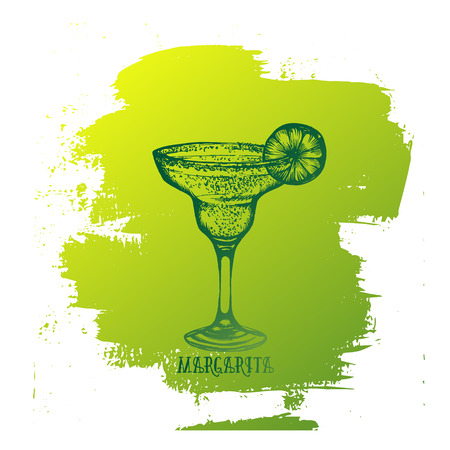 Vector illustration of alcoholic cocktail. Hand drawn sketch of margarita with slice of lime . Bar menu design. Cocktail party icon. Template for card and poster