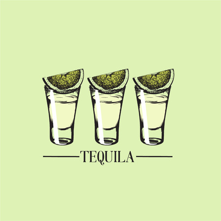 Illustration of tequila glasses made in hand drawn style. Vector template for business card, banner, poster and print. Bar menu design. Cocktail party icon.