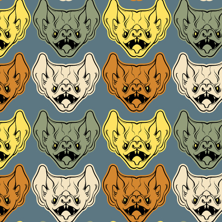 Colorful vector pattern with  illustration of angry bat with fangs  in hand drawn line style isolated. Template for card, poster, banner, print for t-shirt.