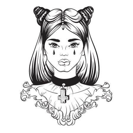 Illustration in street hand drawn style. Portrait of Gothic young beautiful woman. Template for card banner poster and print for t-shirt Vectores