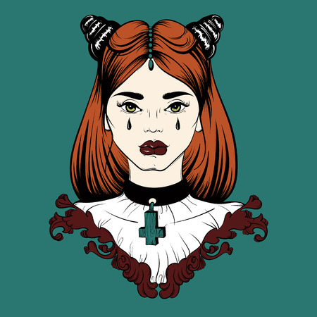 Vector Hand Drawn Illustration Of Realistic Angry Girl With Hands ...