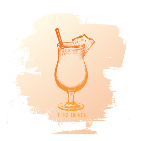 Vector illustration of alcoholic cocktail. Hand drawn sketch of pina colada with slice of pineapple. Bar menu design. Cocktail party icon. Template for card and poster