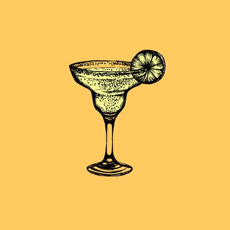 Vector illustration of cocktail margarita. Hand drawn sketch of margarita with slice of lime.Bar menu design. Cocktail party icon.   Template for business card poster and banner