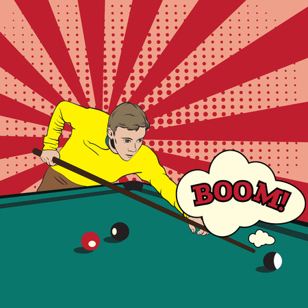 Man playing snooker. Vector illustration made in hand drawn pop art retro realistic style. Template for card , banner and poster.