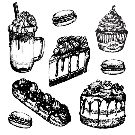 Vector illustration of frappuccino with whipped cream and cookie made in hand drawn sketch style. Cupcake, cheesecake, eclair, macaroon. Template for business card banner and poster.