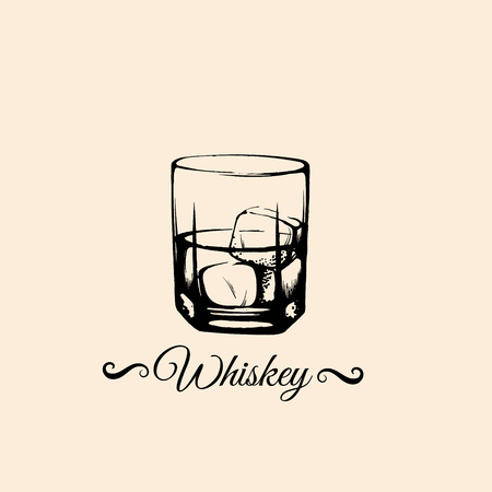 Vector illustration of whiskey glass in realistic hand drawn sketch style/ Vector template for business card banner poster.