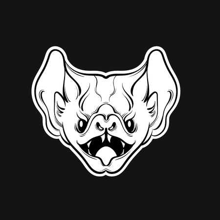 Vector illustration of angry bat with fangs  in hand drawn line style. Template for card, poster, banner, print for t-shirt.
