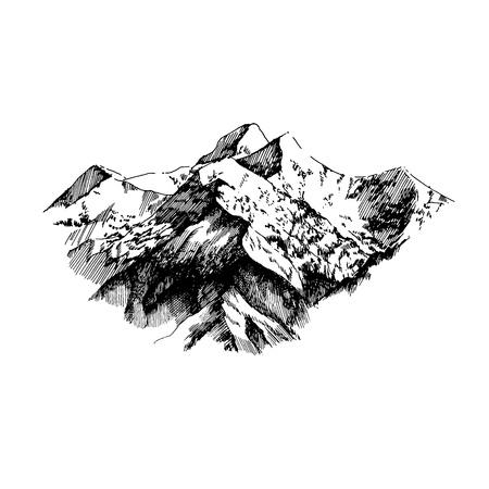 手描きのスケッチスタイルで山々のベクトルイラスト。カードポスターバナーのテンプレート。