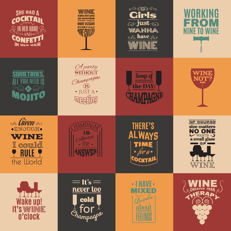 Collection of quote typographical background about champagne cocktails  and wine with silhouette of different kind of glasses and hand drawn elements. Template for business card, poster and banner Imagens - 93919566