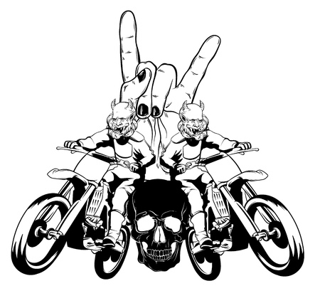 Vector hand drawn illustration of motorcyclist. Surreal tattoo artwork with human skull, rock hand. Template for card, poster, banner, print for t-shirt. Vector Illustration
